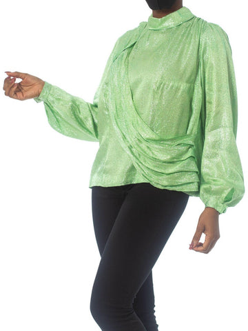 1970S Mint Green Silver Poly Lurex Long Sleeve Top