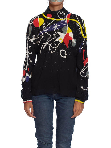 1980S NEIL BIEFF Black Hand Beaded Silk Jean Miro Inspired Abstract Art Blouse