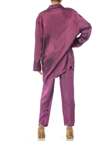 1980S Purple Acetate Taffeta Oversized Blazer Pant Suit