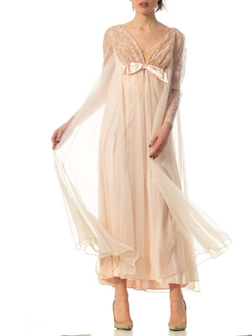 1960S Nude Nylon Chiffon Jersey Romantic Negligee House Dress With Sleeves