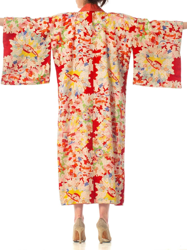 1930S Silk Colorful Printed Japanese Kimono Lined In Pink
