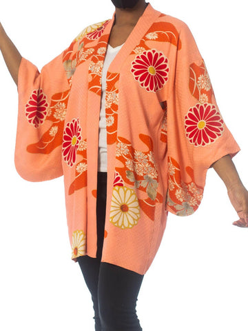1950S Red & Pink Silk Jaquard Floral Kimono