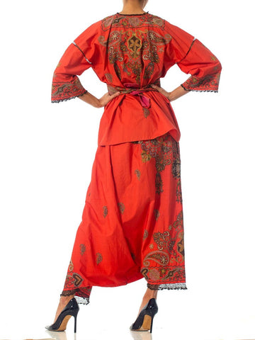 1920S Brick Red Metallic Hand Embroidered Cotton & Silk Kimono Robe And Harem Pant Ensemble With Coordinating Belt
