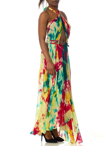 Morphew Collection Tie Dyed Silk Chiffon Backless Halter Maxi Dress