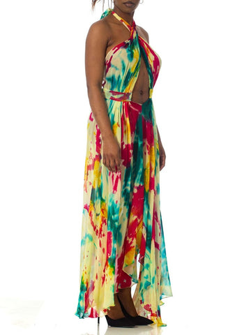 Morphew Collection Tie Dyed Silk Chiffon Backless Halter Dress