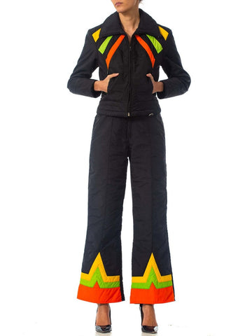 1970S Black Polyester Ski Wear Ensemble With Orange & Yellow Details