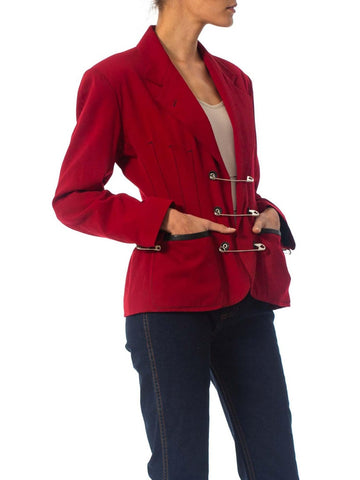 1980S Jean Paul Gaultier Red Wool Very Rare Jacket With Leather And Oversized Safety Pin Details