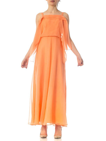 1970S Jean Verron Peach Polyester Chiffon Backless Minimal Goddess Gown