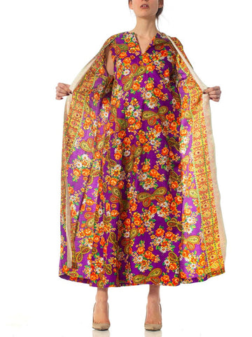 1970S Floral Purple Poly Blend Attached Kimono Kaftan