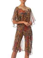 1920S Floral Silk Chiffon Dress With Lace Trimmed Cape Collar