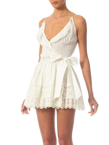 2010S Morphew Collection White Hand Embroidered Organic Cotton Mini Dress Made From Antique Lace & Fabric