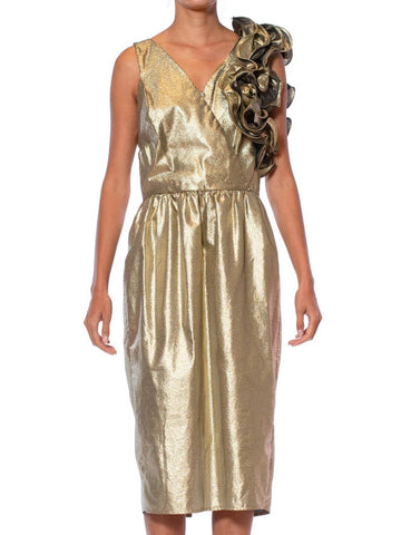 1980S Metallic Poly/Lurex Gold Lamé Dramatic Ruffled Cocktail Dress