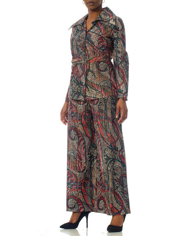 1970S Silver Paisley Poly Lurex Shirt And Pants Ensemble