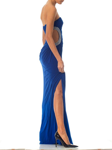 1990S Blue Jersey Gown With Crystal Cut-Out Side