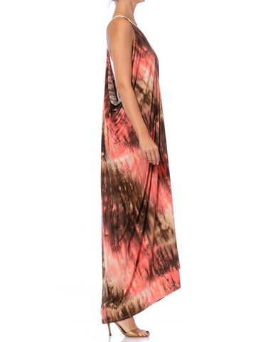 MORPHEW COLLECTION Peach Tie Dyed Poly Blend Jersey Slinky Dye Print Beach Dress
