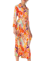 1970S Floral Polyester Jersey Dress