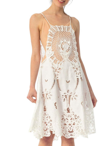 1970S White Cotton Lace Crochet Top Dress
