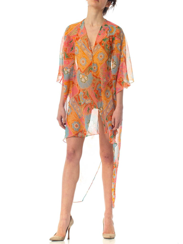 MORPHEW COLLECTION Psychedelic Polyester Organza Beach Cover-Up Cocoon