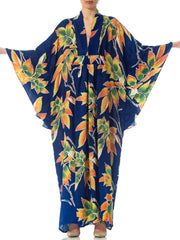 Morphew Collection Indigo Blue Tropical Floral Silk Kaftan Made From Vintage Japanese Kimono Fabric