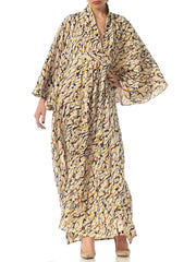 2010S Morphew Collection Silk Kaftan Made From Vintage Japanese Kimono Fabric