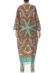 2010S Morphew Collection Aqua Blue Paisley Wool Cocoon With Vintage Velvet Ribbon & Fringe