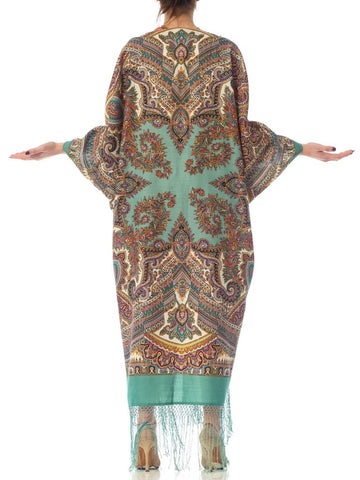 Morphew Collection Aqua Blue Paisley Wool Cocoon With Vintage 1940S Velvet Ribbon & Fringe