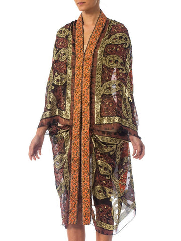 2010S Morphew Collection Bronze Gold Lamé Silk Chiffon Cocoon Made From 1970S Materials
