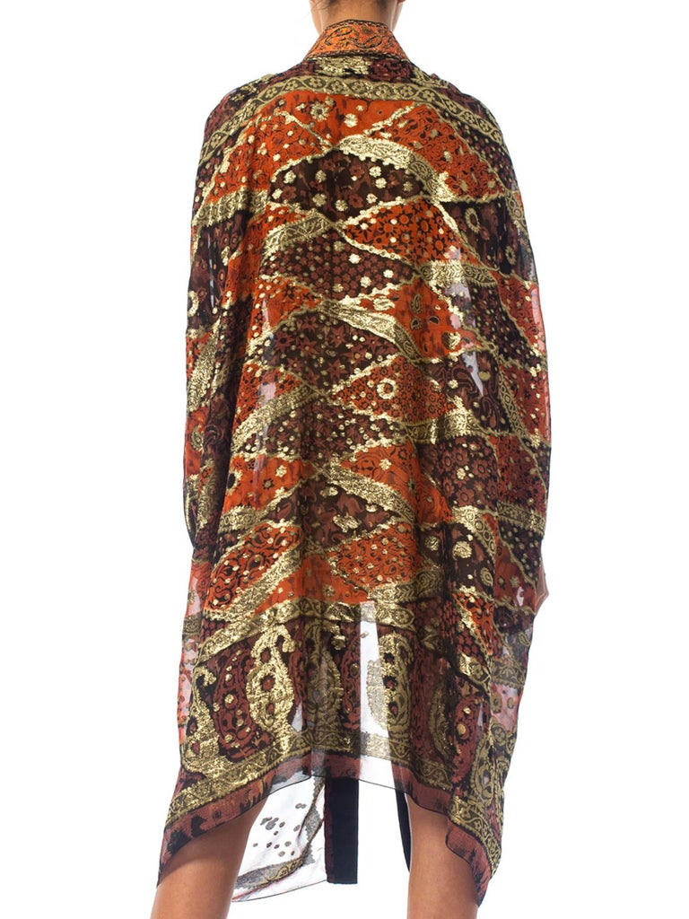 MORPHEW COLLECTION Bronze Gold Lamé Silk Chiffon Cocoon Made From 1970S Materials