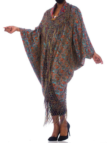 Morphew Collection Victorian Silk Jaquard Paisley Cocoon With Hand Knotted Fringe & Antique Clasp