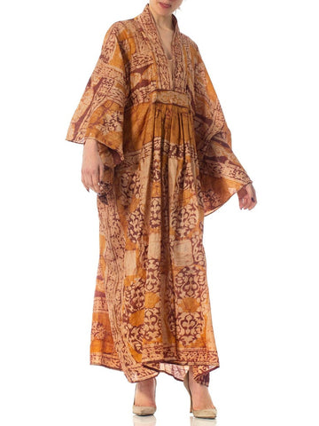 Morphew Collection Caramel Brown Hand Printed Silk Batik Kaftan