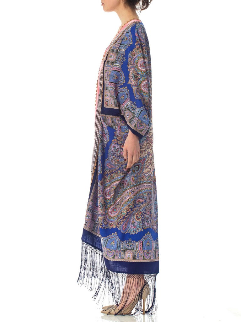 Morphew Collection Blue Paisley Wool Cocoon Duster With Velvet Ribbon Trim
