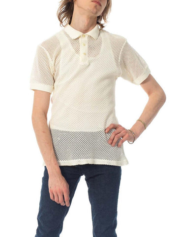 1970S White Sheer Cotton Blend Knit Mens Polo Shirt