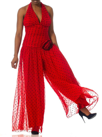 1980S Red Polyester Chiffon Polka Dot Jumpsuit