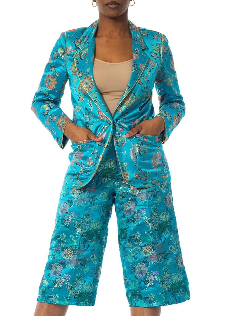 1970'S Teal Silk Brocade Chinese Pant Suit