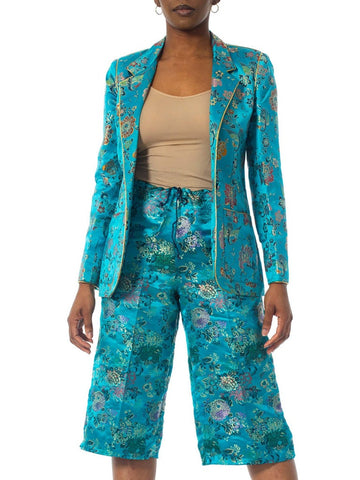 1970'S Teal Silk Brocade Chinese Ensemble