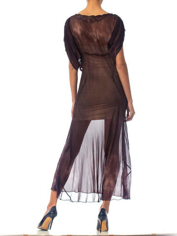 1930 Bias Cut Silk Chiffon Stormy Sky Tie-Dye Sleeved Dress With Appliqué Neckline