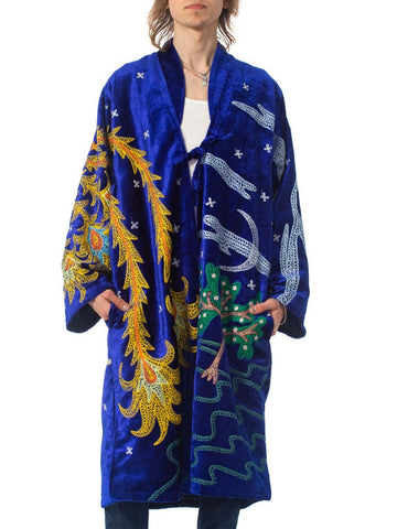 1970S Velvet Duster Embroidered With A Giant Phoenix Bird