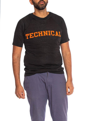 "1950S Black Rayon & Cotton Custom Men's Football T-Shirt With ""Technical"" Applique"