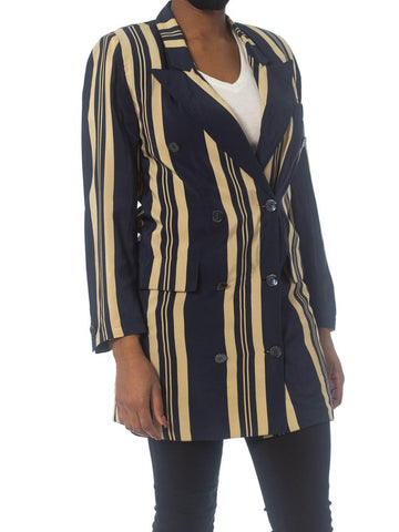 1970S GUCCI Blue & White Silk Crepe De Chine Nautical Summer Striped Blazer With Mother-Of-Pearl GG Logo Buttons