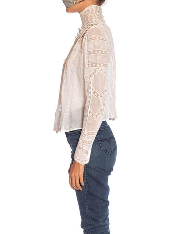 Victorian White Organic Cotton Voile & Floral Lace Swan Neck Blouse With Irish Crochet Styled Details