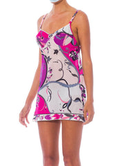 1960S Pucci Purple & Pink Nylon Jersey Underwire Bra Top Mini Slip Dress