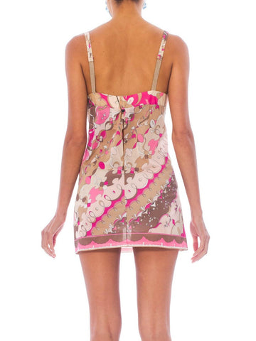 1960S Pucci Pink & Beige Nylon Jersey Under-Wire Bra Mini Slip Dress