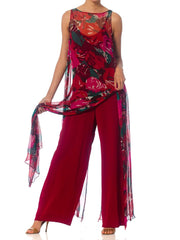 1970S Cranberry Red Rayon Jumpsuit With Floral Silk Chiffon Duster Overlayer