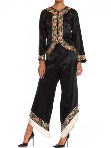 1930S Black Chinese Silk Satin Cocktail Lounging Pajamas With Metallic Hand Embroidery & Fringe