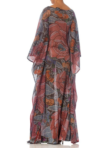 1970S Missoni Metallic Rayon Blend Knit Rare & Collectible Asian Floral Kaftan
