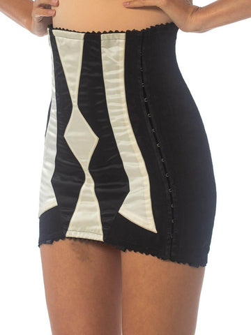 1950S Black & White Stretch Pin-Up Rockabilly Girdle
