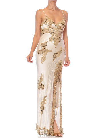 1990S Ivory Bias Cut Silk Charmeuse Galliano Style Gown With Beaded Gold Lace Appliqués
