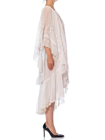 MORPHEW COLLECTION White Embroidered Victorian Cotton Organdy Backless Dress With Giant Sleeves