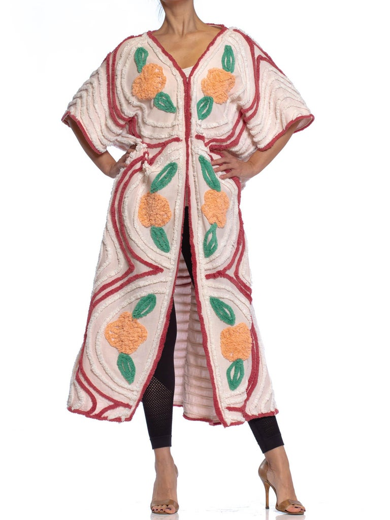 MORPHEW COLLECTION Peach & White Cotton Chenille Cocoon Beach Coat With Flowers