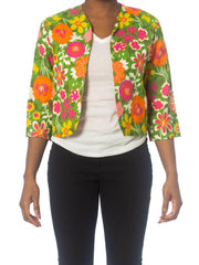1960S Floral Multicolored Linen Summer Resort Cropped Jacket